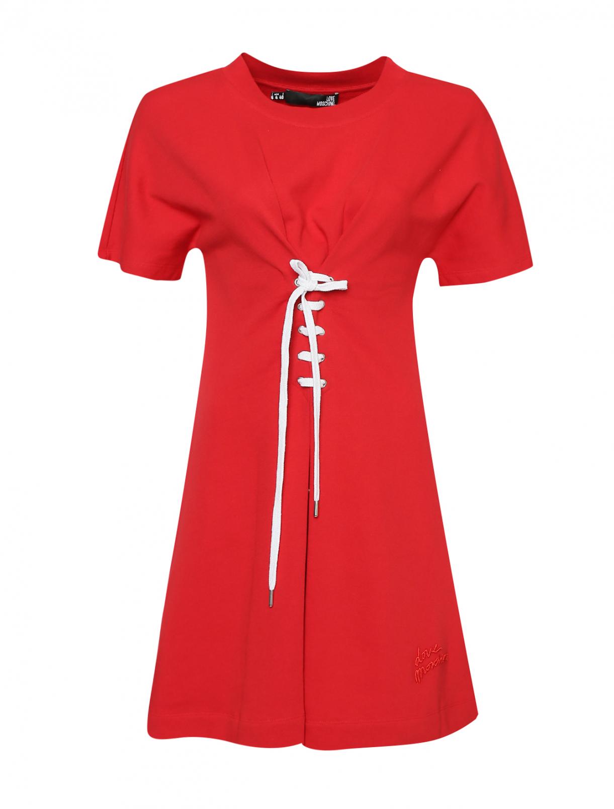 Платье хлопковое, с декоративной шнуровкой Love Moschino  –  Общий вид
