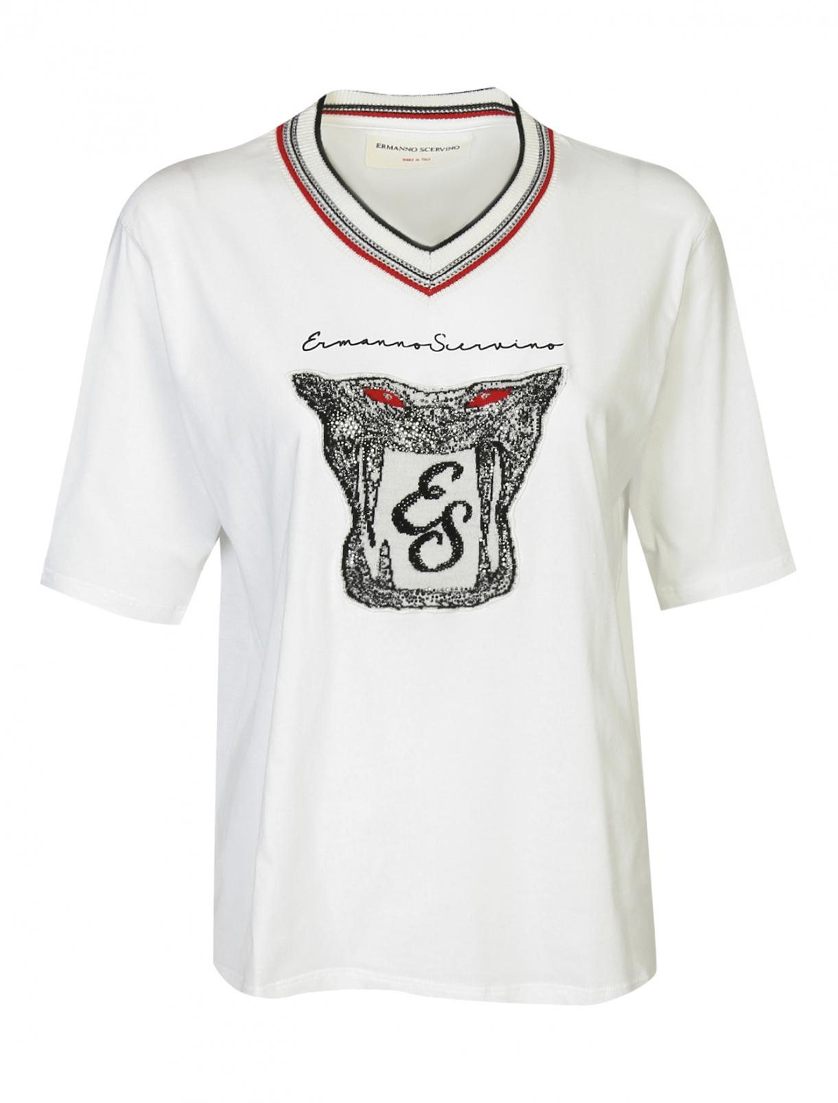 Футболка из хлопка свободного кроя декорированная стразами Ermanno Scervino  –  Общий вид