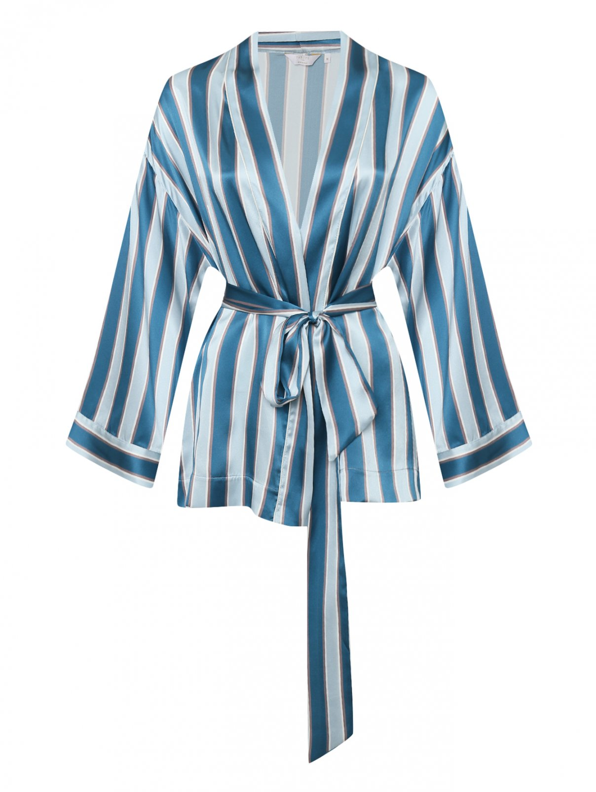 Шелковый халат в полоску на поясе Frette  –  Общий вид